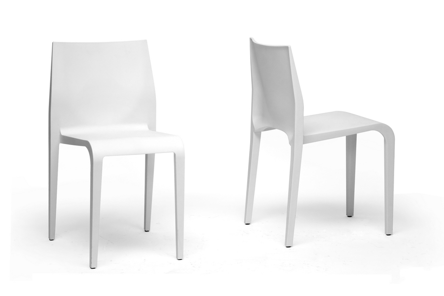 modern plastic chair reclining beach baxton studio blanche white molded dining set of 2 iedc