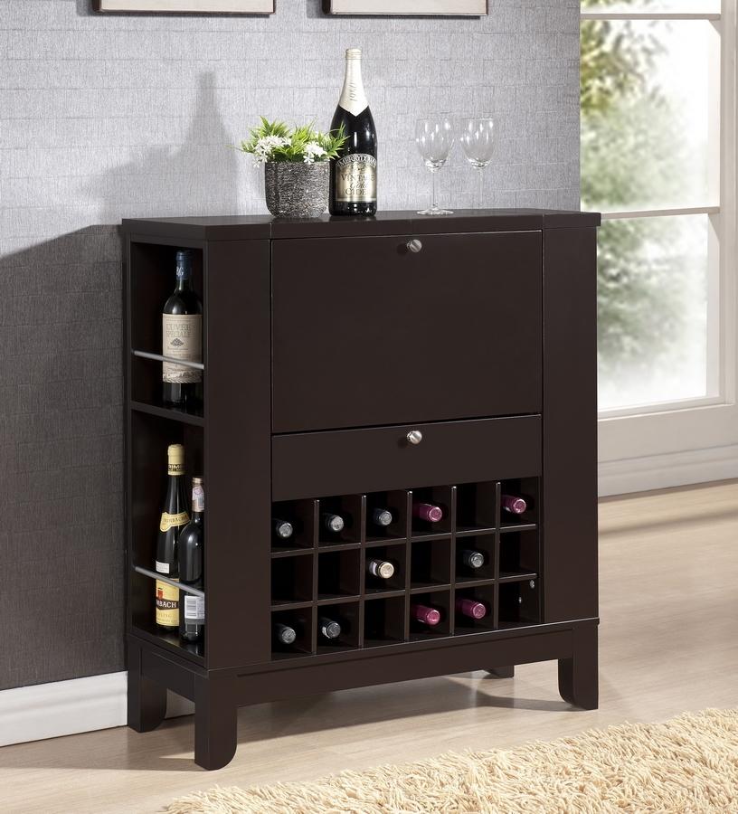 Modesto Brown Modern Dry Bar and Wine Cabinet  Interior