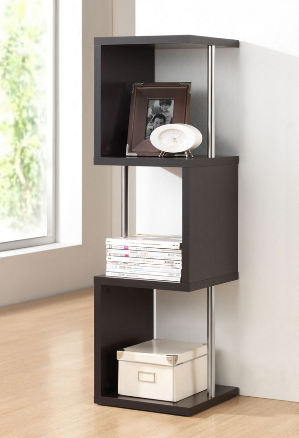 Baxton Studio Lindy Dark Brown Modern Display Shelf 3