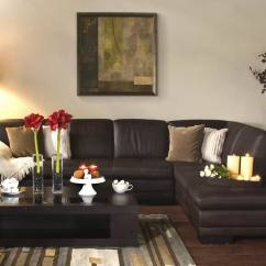 Interior Designs Of Living Room Pictures Table Sets For Diana Brown Leather Modern Sectional Sofa W/ Chaise ...