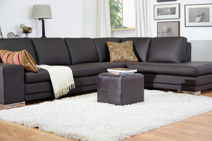 brown leather sectional sofa with chaise sears black nox small inexpensive cube ottoman ...