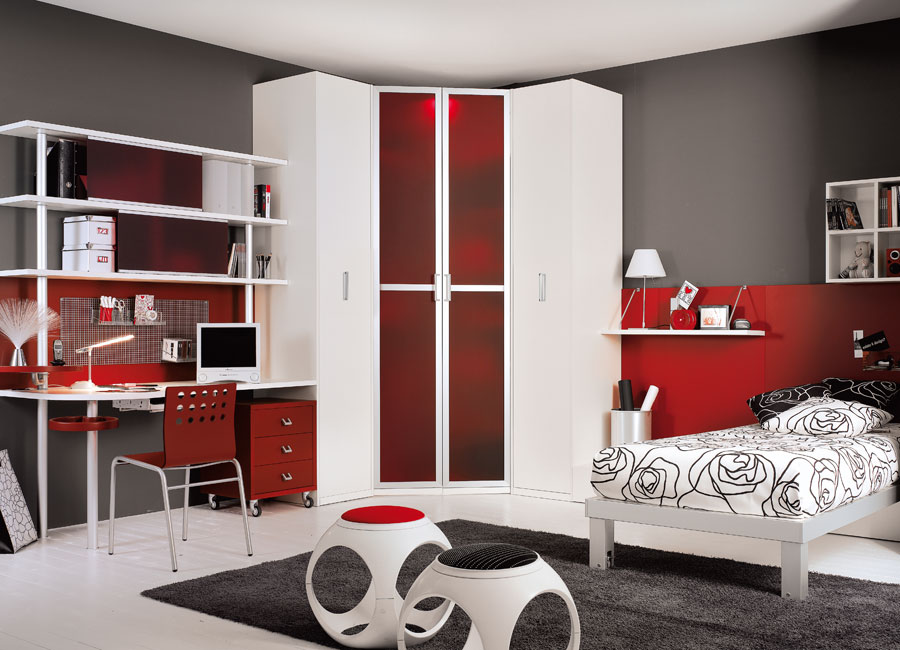 Interior Exterior Plan Red And Grey Modern Teen Room