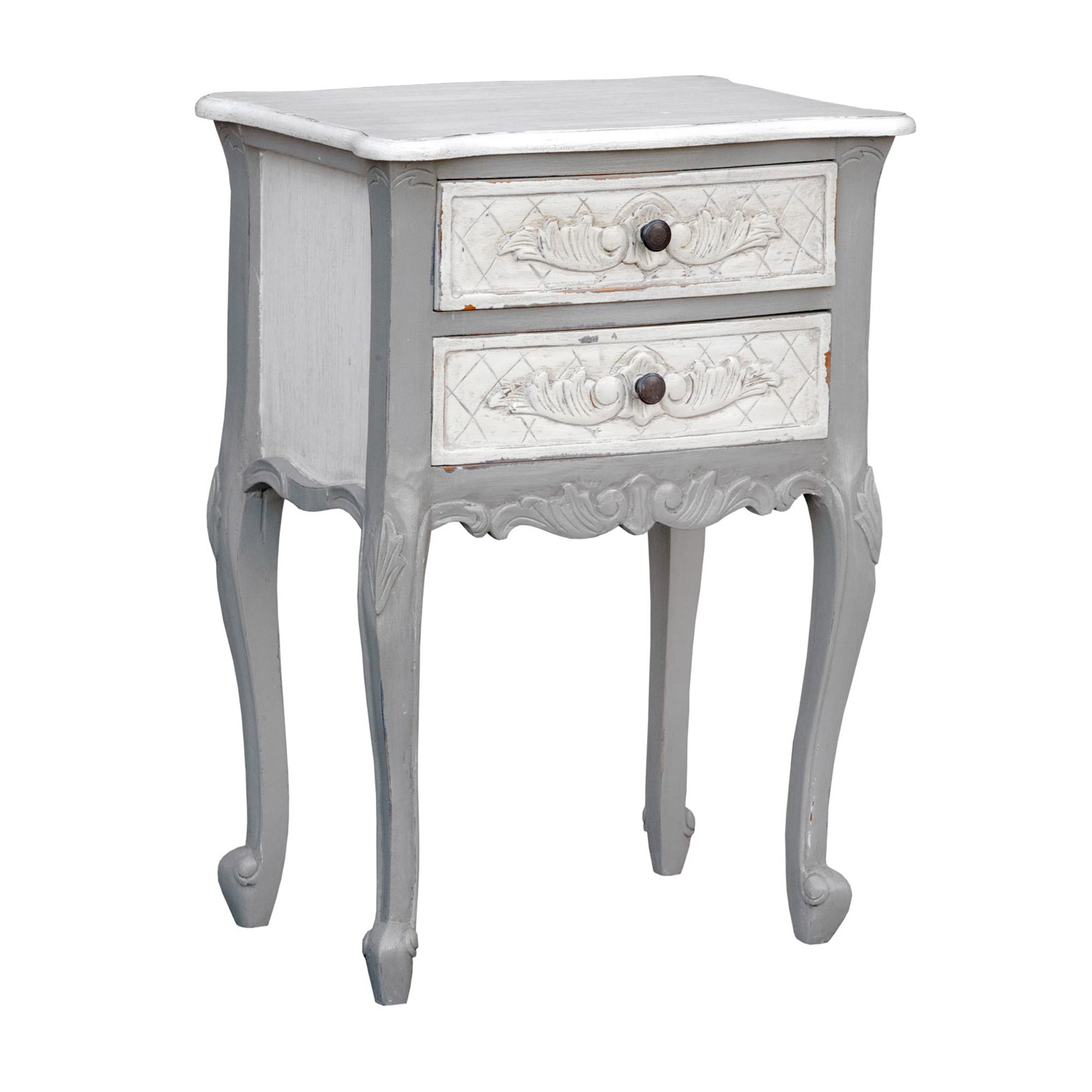 Shabby Chic Vintage Grey Bedside Table