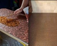 DIY Copper Penny Floor | InteriorHolic.com