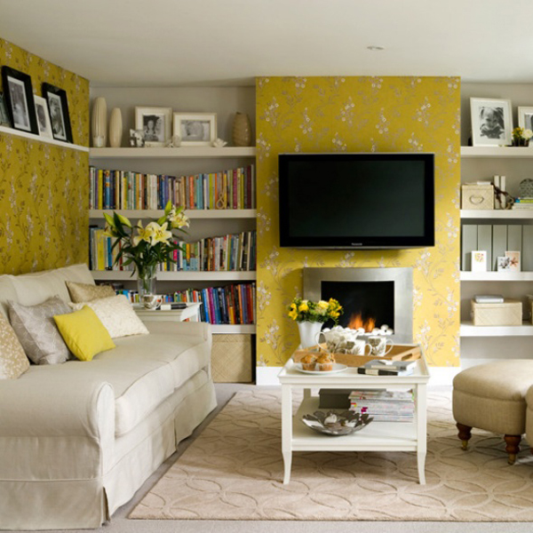 Sunny Yellow Living Room Design Ideas  InteriorHoliccom