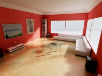 red wall livingroom interior