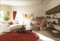 Rust red white living room furniture designs | Interior ...