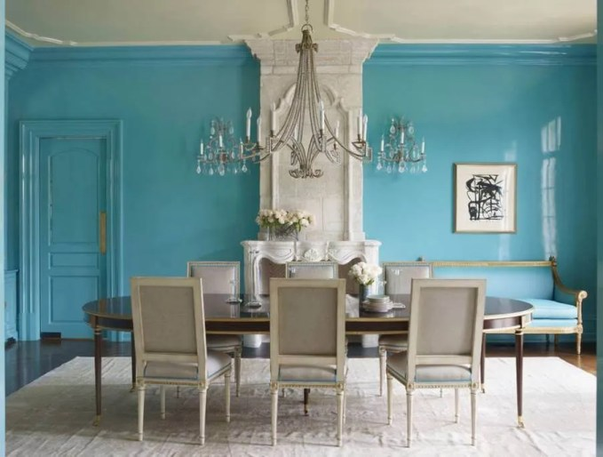 Vibrant Blue Dining Room