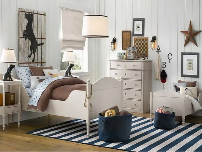 kids-room-bedroom-amazing-boys-bedroom-ideas-pictures-with-white-shade-glass-chandelier-and-single-white-wooden-beds-cool-brown-quilt-and-smart-black-striped-rugs-on-flooring-and-woods-white-dresser-1280x800