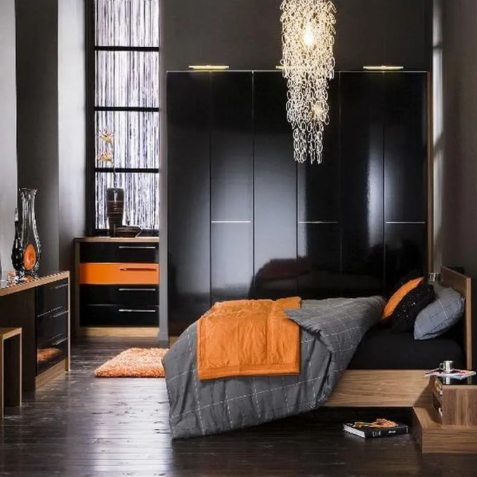 Elegant-Single-Man-Bedroom-Ideas-Dark-Grey-Bedroom-Orange-Accents