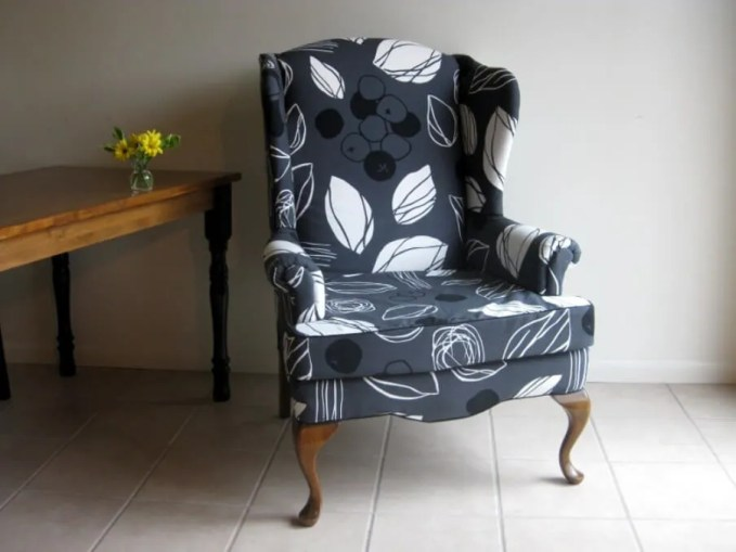 Floral Grey Wingback Chair