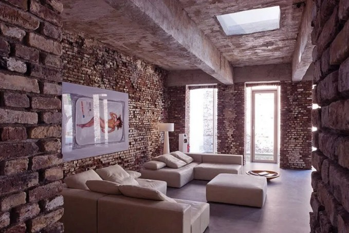 Bold Industrial Living Room with Brick Walls