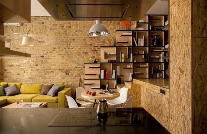 Modern Living Room with Brick Walls