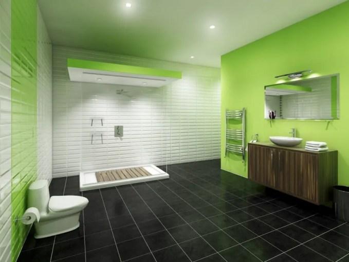 Sleek Green Bathroom