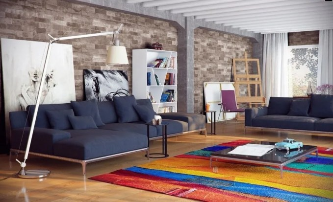 Spacious Living Room with Brick Walls