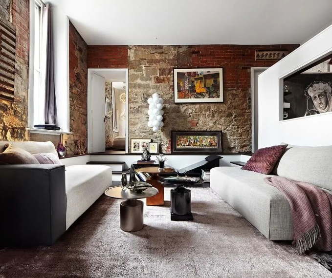 Stylish Living Room with Brick Walls