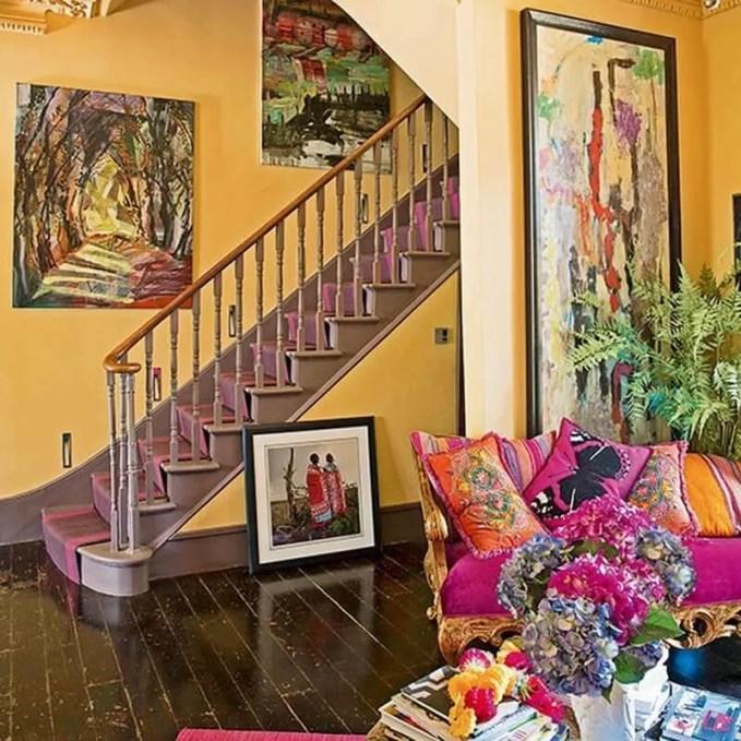 Yellow-and-Bright-Pink-Hallway-25-Beautiful-Homes-Housetohome