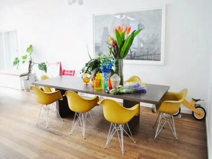 dining room yellow eames chairs cococozy