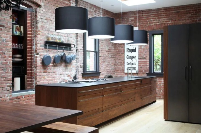 Industrial Kitchen with Brick Wall