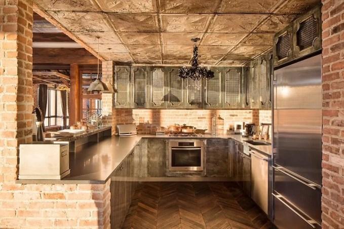 Modern Kitchen with Brick Walls