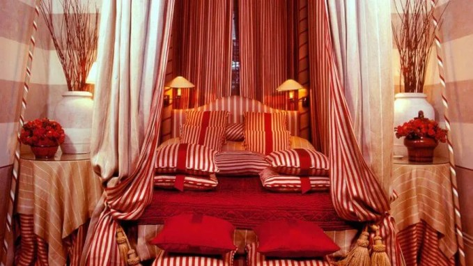 Stripped Red Bedroom