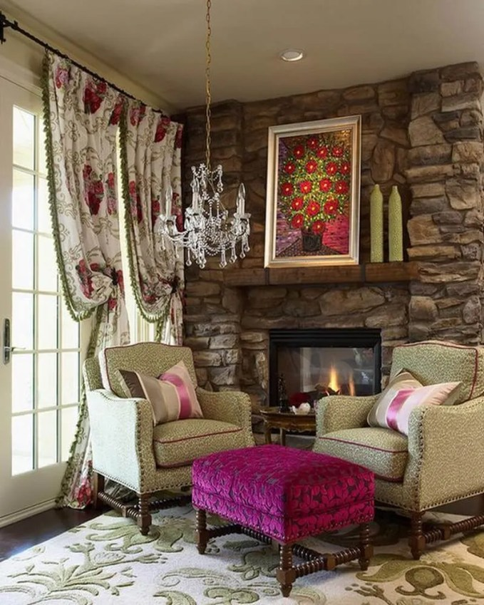 Velvet-Fuchsia-Coupled-With-Light-Green-Leopard-Print-Chairs-For-Eclectic-Interiors