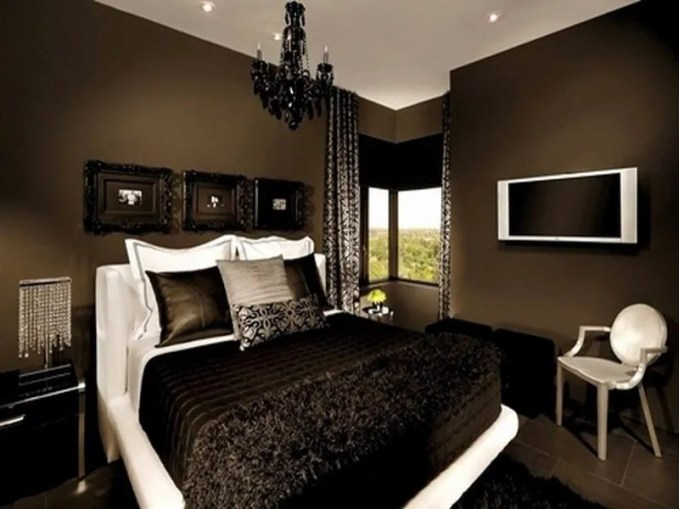 chocolate-brown-bedroom-with-shade-of-white-and-portraits
