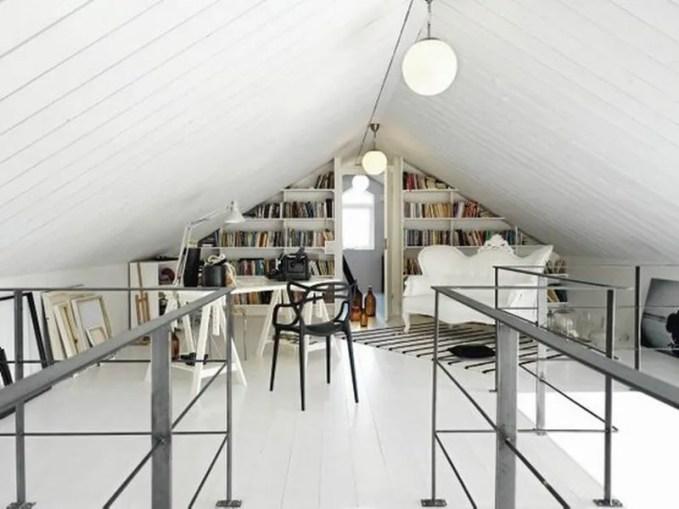modern attic home office