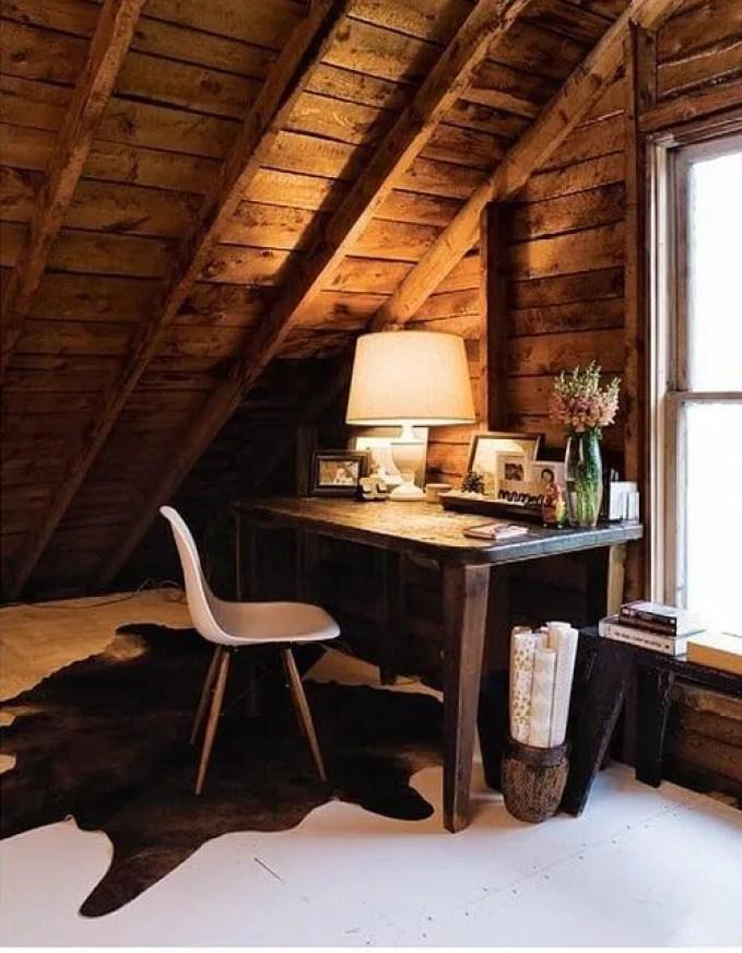 rustic attic home office design