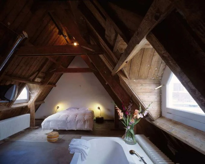 Attic Bedroom with Roof Beams