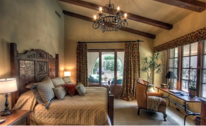 Chic Bedroom with Roof Beams