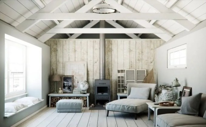 Cool Living Room with Exposed Beams