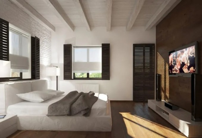 Natural Bedroom with Roof Beams