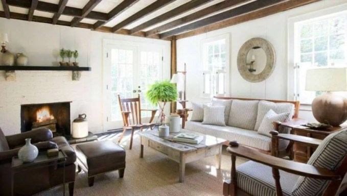 Nice Living-Room-with-Exposed-Roof-Beams