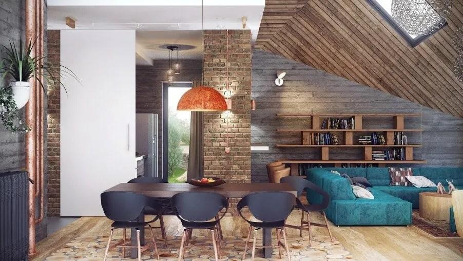 Open Plan, Cool Industrial living room