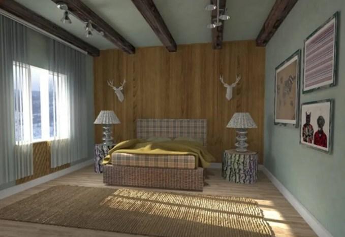 Scandinavian Bedroom with Roof Beams