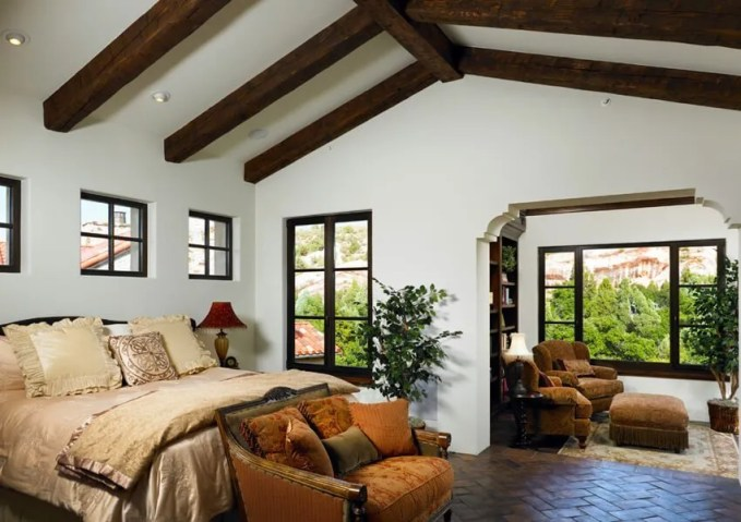 Traditional Bedroom with Roof Beams