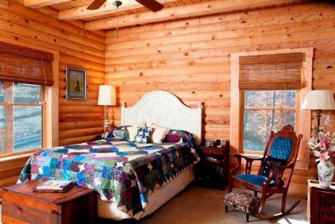 Wood Bedroom with Roof Beams