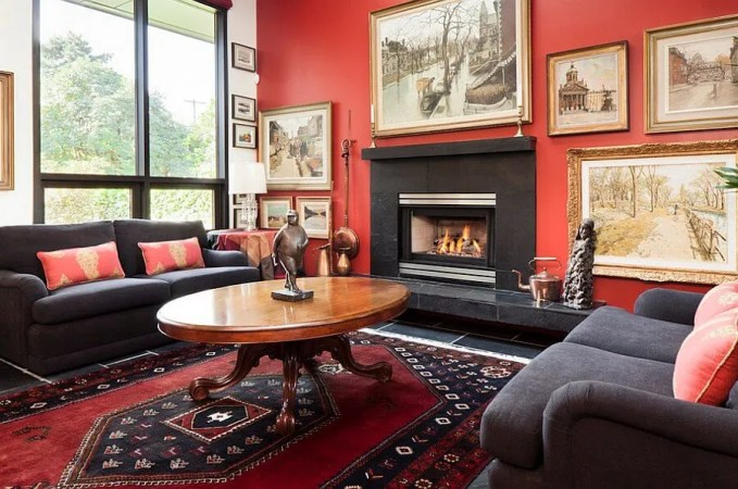 Classy Red Living Room