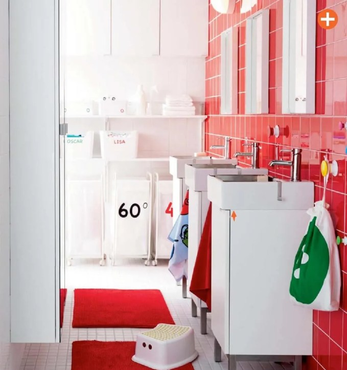 Red Ikea Bathroom