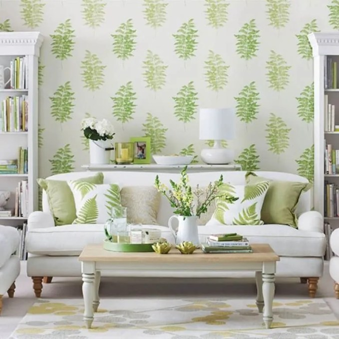 Beautiful Green and White Living Room