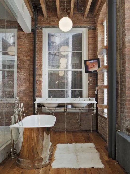 Brick Walls Indsutrial Bathroom