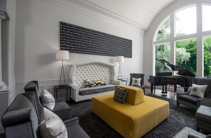 Chic Gray and Yellow Living Room