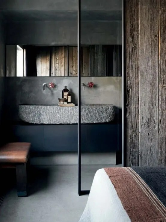 Dramatic Indsutrial Bathroom