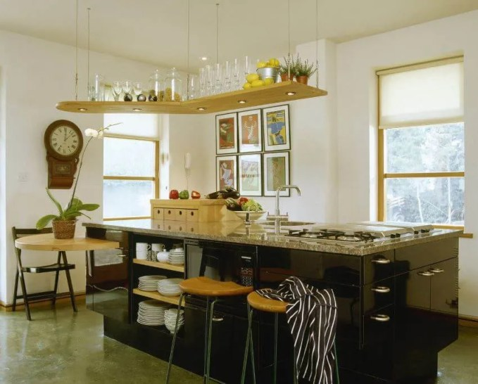 Kitchen With Ceiling Mountful Open Shelving