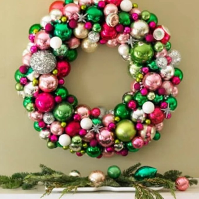 Colorful Ornaments Christmas Wreath