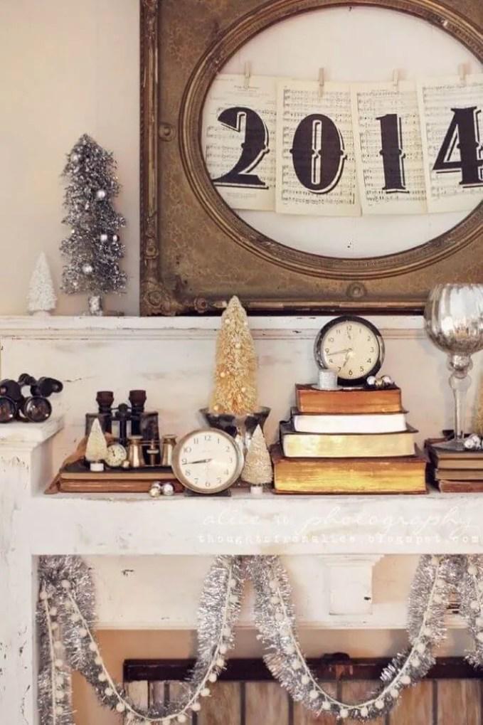 Rustic New Year Mantel