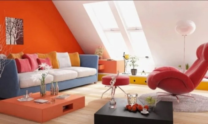Attic Tangerine and White Living Room