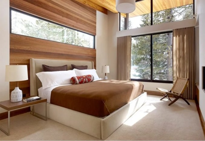 Bold Bedroom with Wood Paneling