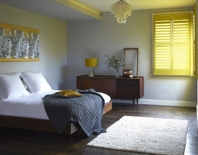 Cheerful Gray and Yellow Bedroom